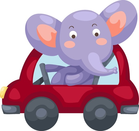 hand truck: cartoon elephant illustration