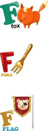 Animal alphabet letter - F