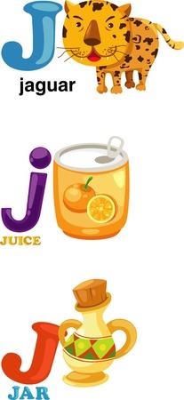 j: Animal alphabet letter - J Illustration