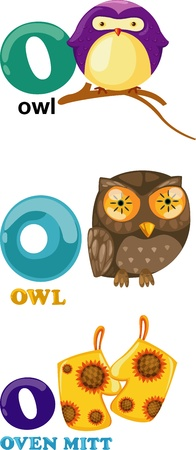 Animal alphabet letter - O  Vector