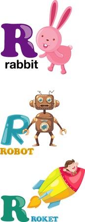 letter R: Animal alphabet letter - R
