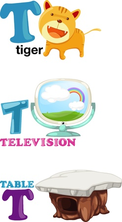 Animal alphabet letter - T Vector