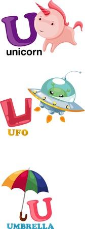 letter u: Animal alphabet letter - U