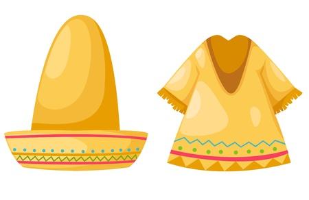 trajes mexicanos: Camisa y sombrero aislados en fondo blanco vector Vectores