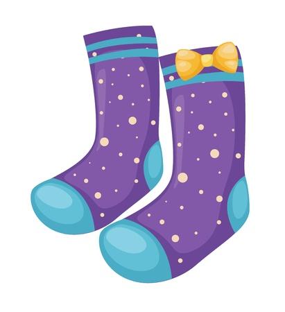 long socks: sock isolated on white background vector Illustration