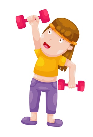 weight weightlifting: woman with dumbbells isolated on white background vector Illustration