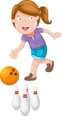 kegelen: meisje bowling geïsoleerd op witte achtergrond vector Stock Illustratie