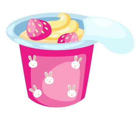 strawberry yogurt isolated on white background vector Stock Vector - 16544650