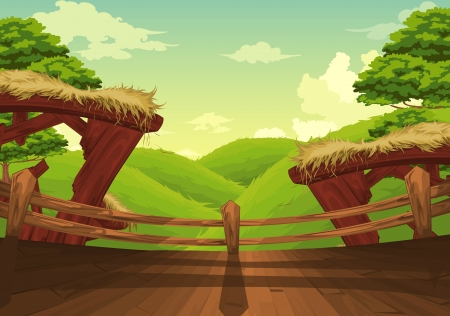 mushroom cloud: Beautiful Landscape Background vector Illustration