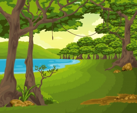 jungle cartoon: Hermoso paisaje de fondo vector Vectores