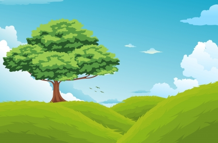 painterly effect: Beautiful Landscape Background vector Illustration