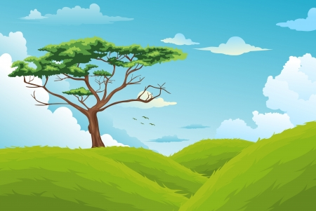 non urban scene: Beautiful Landscape Background vector Illustration