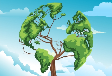 Tree shaped world map vector Vector