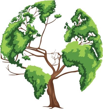 un arbre: Vecteur arbre en forme de carte du monde Illustration