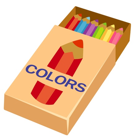 disegni a matita: matite su scatola Vettoriali