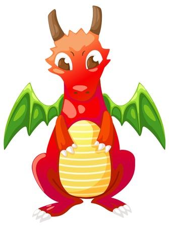 drago alato: Cute cartoon illustrazione drago rosso Vettoriali