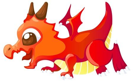 winged dragon: Cute cartoon red dragon illustration