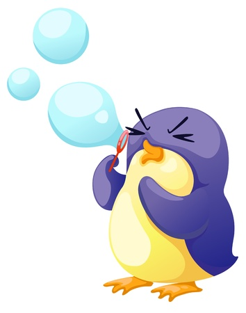 soap reflection: illustration of isolated penguin blowing bubbles