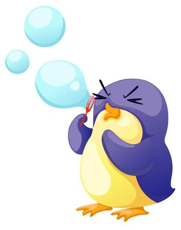 pinguinos navidenos: ilustración de pingüino aislado soplar burbujas Vectores