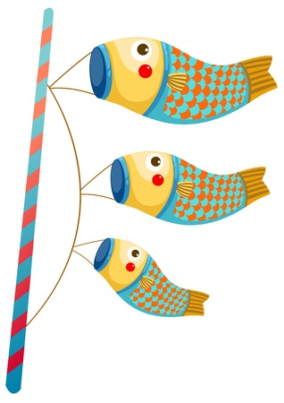 pez carpa: Japonés koi carpa mangas de viento