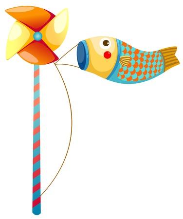 windy day: Japanese koi carp windsocks
