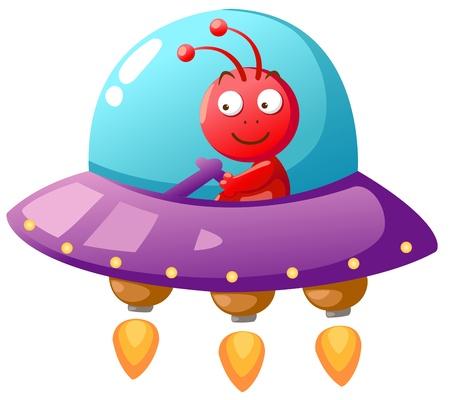 cartoon rocket: Alien Ufo