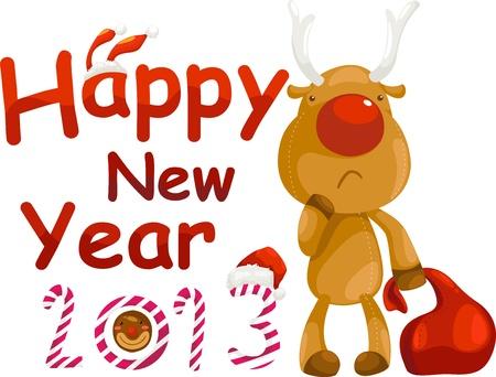 deer  happy new year 2013 Stock Vector - 16857881