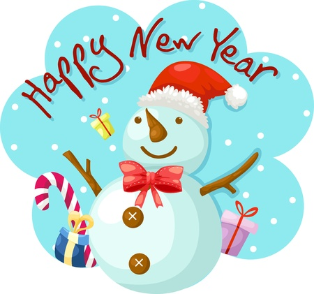 Snowman happy new year  Vector