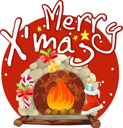 fireplace merry christmas  Vector