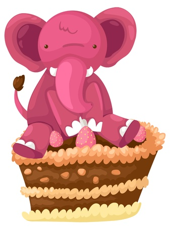 Elephant with cake chocolate vector Vector