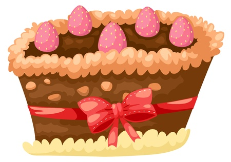cake chocolate with strawberry vector Stock Vector - 16887123