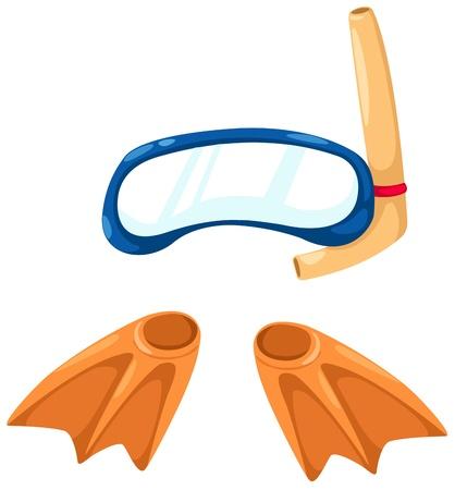 schnorchel: Schnorchelausr�stung und Flossen vector