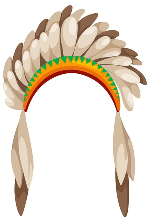 indian chief mascot: native american headdress vector Illustration