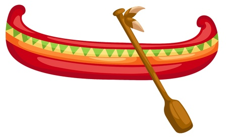 Canoe with Paddle in Vector Illustration Illustration