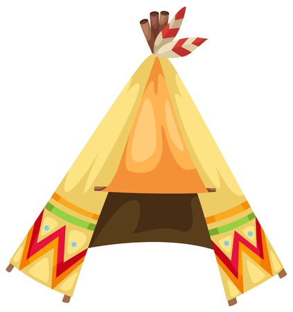 cartoon indians tepee vector Vector