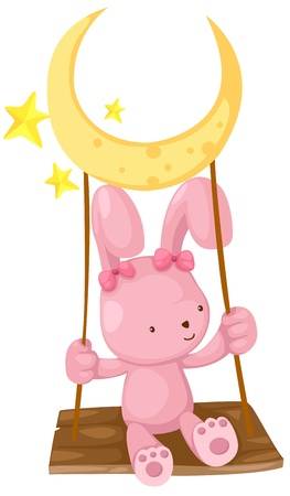 rabbit playing swing vector Stock Vector - 16887124