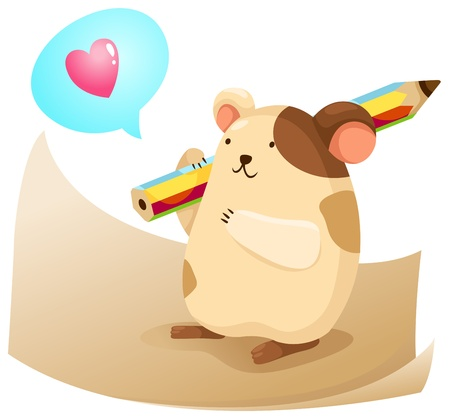 cute hamster with note paper vector Vector