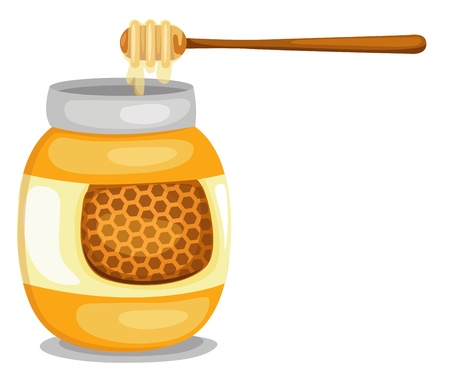 golden pot: jar with honey vector  isolated  illustration