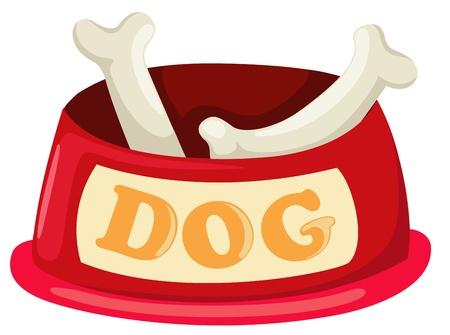 dog eating: illustration of isolated dog bowl with big bone vector