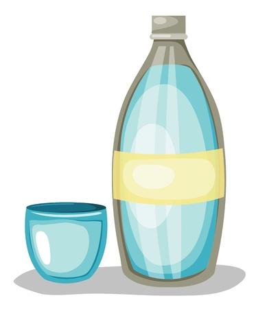 soda splash: Bottle of water and glass  Vector illustration
