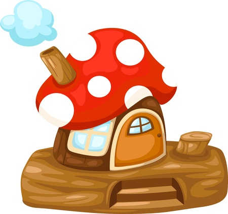 dream land: illustration of isolated fantasy Mushroom house vector Illustration