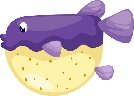 doodle art clipart: illustration of isolated  blowfish vector