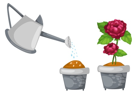 watering can with rose cute in pot illustration vector Stock Vector - 17623502