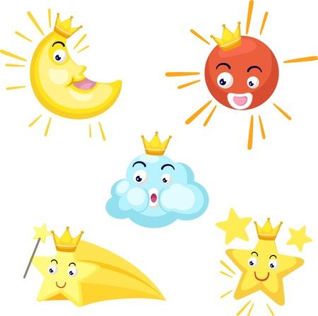 zon en maan: illustratie van geïsoleerde set van hemelse zon, maan, ster, wolk vector Stock Illustratie
