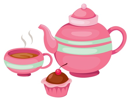cream tea: illustration of isolated tea pot set vector
