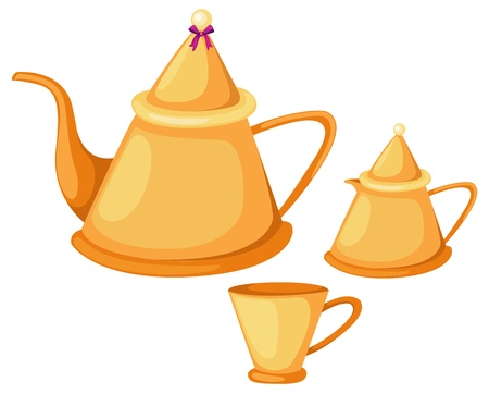 illustratie van geïsoleerde thee pot set vector