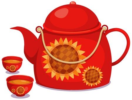 tea kettle: illustration of isolated tea pot set vector