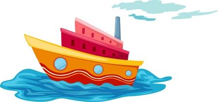 barco caricatura: ilustración del vector yate aislado
