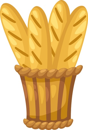 crusty french bread: baguette in basket  Vector illustration  on white background