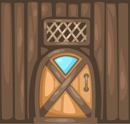 old wooden door: Door   Vector illustration  on white background Illustration